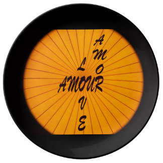 LOve, Amour, Amor, words in 3 languages, Porcelain Plate