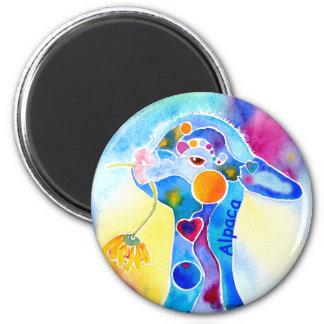 Love An Alpaca T Shirt Purples & Blues 2 Inch Round Magnet