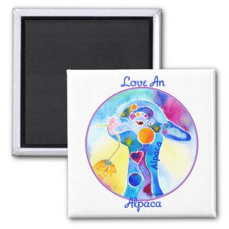 Love An Alpaca T Shirt Purples & Blues 2 Inch Square Magnet