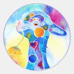 Love An Alpaca T Shirt Purples & Blues Round Sticker