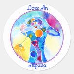 Love An Alpaca T Shirt Purples & Blues Round Stickers