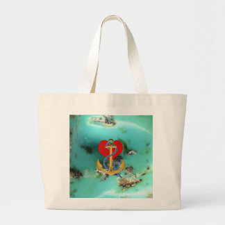 Love Anchor on-a Turquoise Background MultipleGifs Large Tote Bag