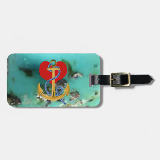 Love Anchor on-a Turquoise Background MultipleGifs Luggage Tag