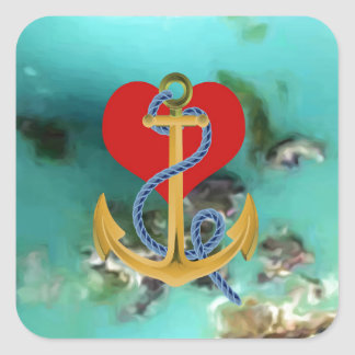 Love Anchor on-a Turquoise Background MultipleGifs Square Sticker