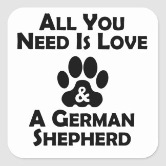 Love And A German Shepherd Square Sticker