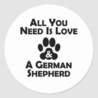 Love And A German Shepherd Classic Round Sticker