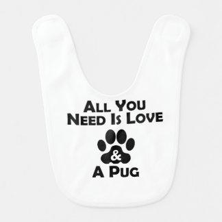 Love And A Pug Bibs
