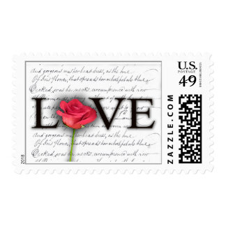 Love and a rose postage