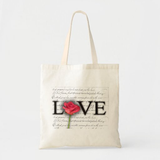 Love and a rose tote bag