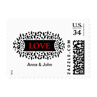 love and banner postage stamp