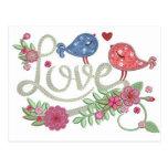 Love and birds postcard