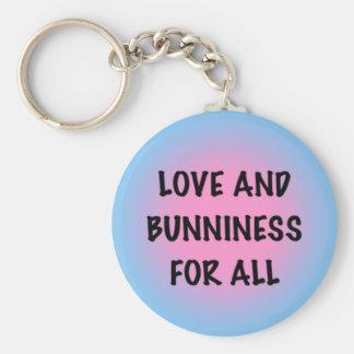 Love and Bunniness Basic Round Button Keychain