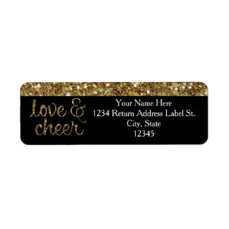 Love and Cheer Glitter Shiny Effect Christmas Return Address Labels