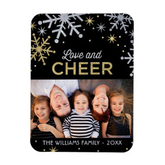 Love and Cheer | Silver Gold Photo Rectangle Magnets