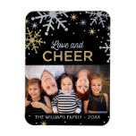 Love and Cheer | Silver Gold Photo Rectangular Photo Magnet