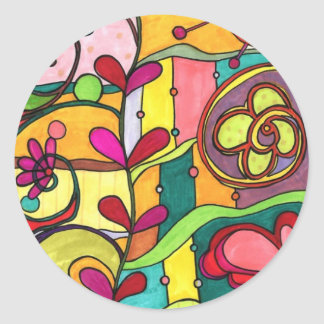 """""""Love and Color"""" Illustration by Paisley In Paris™ Round Sticker"""