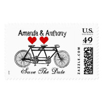 Love and couple tandem bicycle postage
