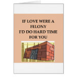 love and crime greeting card