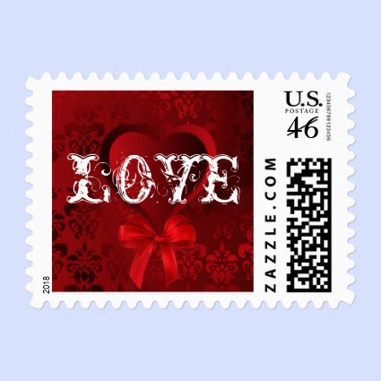 Love and deep red damask stamp