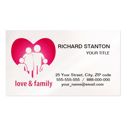Love and family business card zazzle for Family business cards