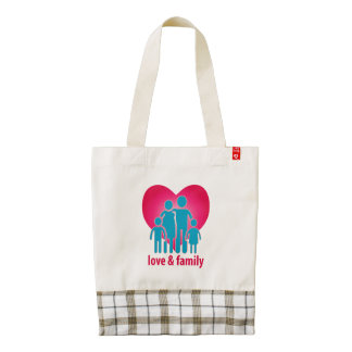 Love and family zazzle HEART tote bag