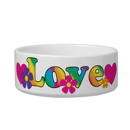 Love and Flowers Bright Colors 60s Hippie Design Cat Food Bowls