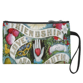 Love and Friendship Luck Suede Wristlet