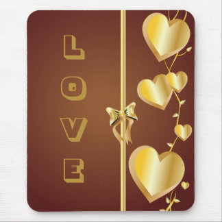 Love and Gold Hearts on Brown Background Mousepad