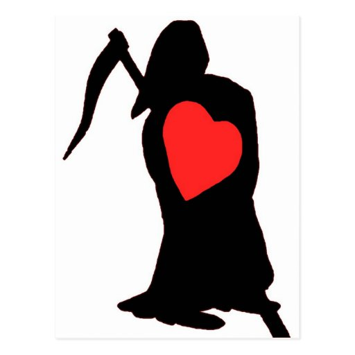 Love and Hate, Life and Death, Reaper, Red Heart ( Postcard