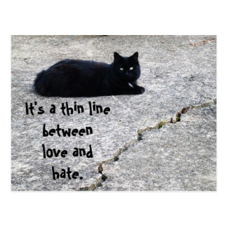 LOVE AND HATE, THIN LINE postcard