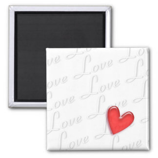 Love and Heart 2 Inch Square Magnet
