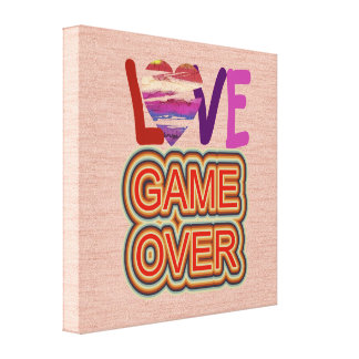 Love and Heart Game Over 2 Canvas Print