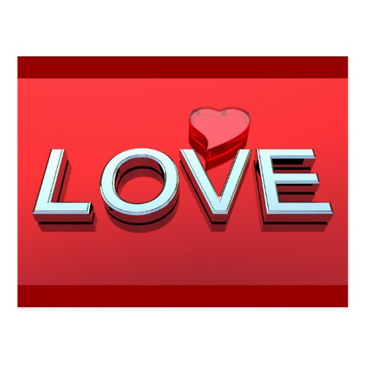 Love and heart postcard