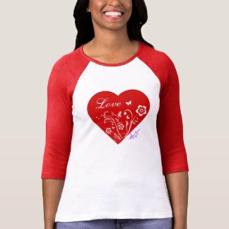Love and Heart Womens Raglan 3 4 Slv T-Shirt