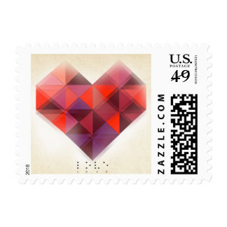 Love and Hearts in Braille Postage