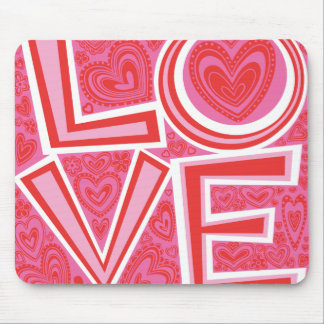 LOVE and HEARTS mouse pad
