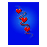 Love and Hearts on Blue Print
