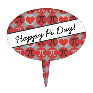 Love and Hearts Pi - Cute Pi Day Cake Topper
