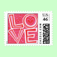 Love and Hearts Postage Stamp - Fun design of the word LOVE surrounded by red and pink hearts and flowers. Perfect for Valentine's Day or Everyday!