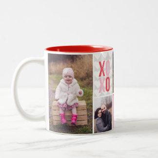 Love and Hugs 4 Photo Collage Two-Tone Coffee Mug