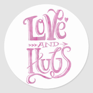 Love and Hugs Watercolor | Round Sticker