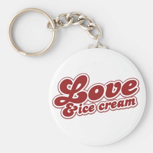 Love and Ice Cream Basic Round Button Keychain