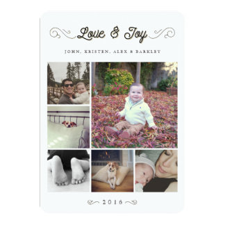Love and Joy   Christmas Multi Photo Collage Card