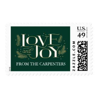 Love and Joy Pine Bough Christmas Stamp