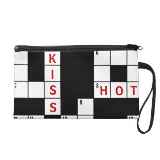 Love and Kisses Crossword Puzzle Design Wristlet Purse
