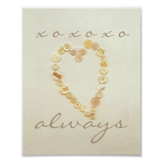 love and kisses heart poster vintage style art