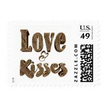 Love and Kisses Romantic Elegant Gold Typography Postage