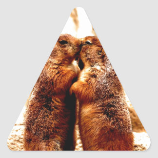 Love and Kissing  Prairie Dog Triangle Stickers