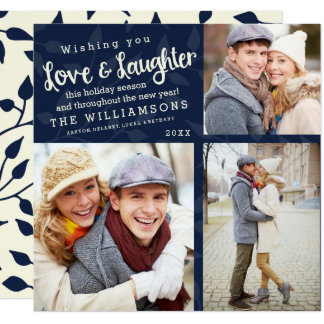 Love and Laughter Holiday Photo Card / Navy Blue