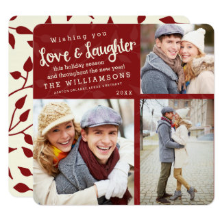 Love and Laughter Holiday Photo Card / Red